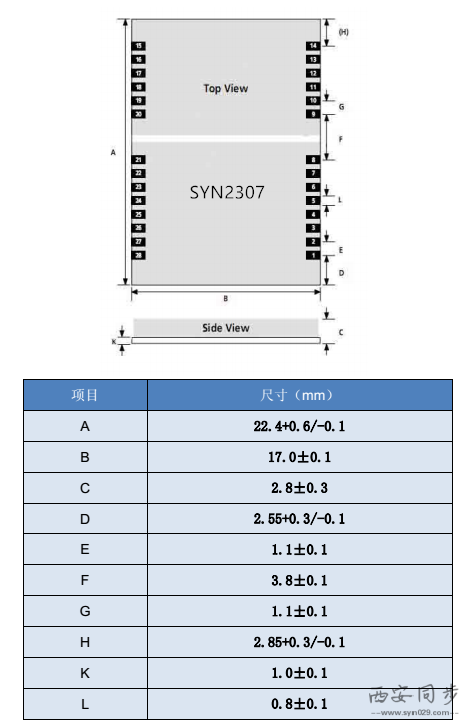 SYN2307型GPS北斗双模授时模块尺寸图